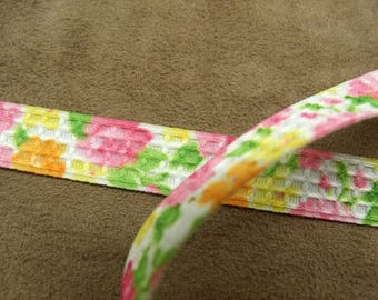 Pink Ribbon - fancy 1.5 cm - floral pattern - multicolored