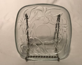 """Square Glass Serving Dish Embossed Lily Pattern Pressed Glass 6 1/2"""""""