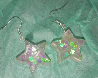 Sparkly Star Resin Earrings