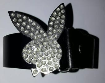 PLAYBOY belt and bucklet, waist 115 size 46, black leather, Playboy Bunny, Vintage, Playboy belt