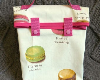 "Lunch bag or lunch in coated cotton bag ""macaroons"""