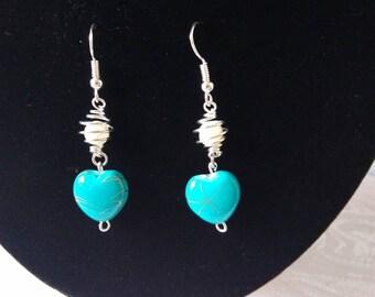 Earrings pearls heart