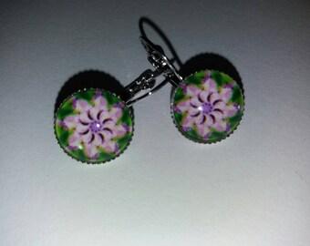 Earrings cabochon glass mandala 4