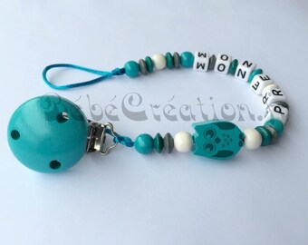 OWL turquoise personalized pacifier