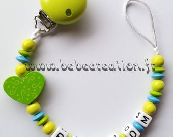 Pacifier clip personalized I love green
