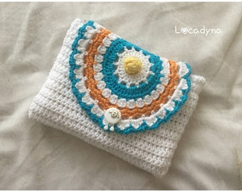 Pocket flap Mandala pouch makeup-Crochet Cotton white Multi-Cadeau woman girl - birthday party - Fun button closure-