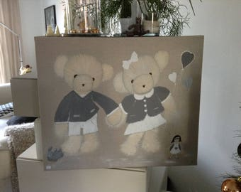 """decorative theme """"cubs"""" painting done in acrylic paint."""