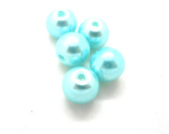 Lot 20 8mm blue glass beads