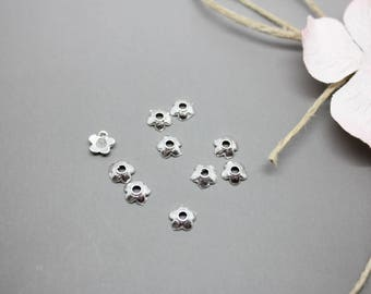 Set of 40 cups flower silver 6.5 mm - creating jewelry-