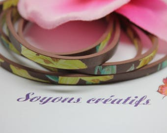 1 m strap in brown leather 5 mm - Creation jewels - P4604 - yellow flowers