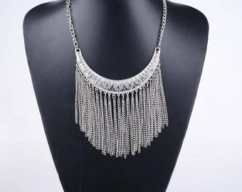 Gorgeous ethnic silver bib necklace