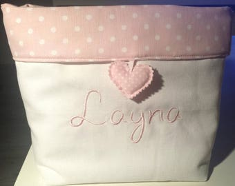 case of arrangement embroidered with baby's name