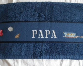 """""""Dad"""" hand embroidered towel"""