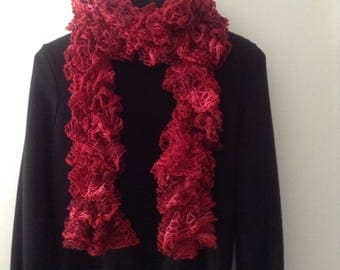Large ruffle scarf red and fuschia pink shades