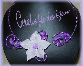 Silk flower and purple beads necklace