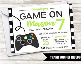 Gamer Invite Birthday Game Truck Invitation Digital 5x7 Kids Boys Green Black Controller