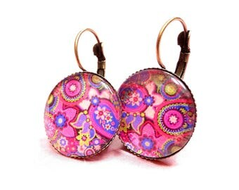 Hot pink paisley Paisley earrings