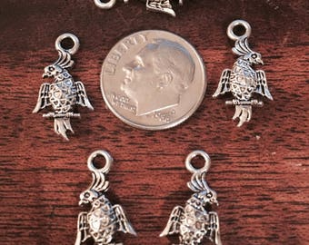 5 Parrot Body Charms Antique Silver