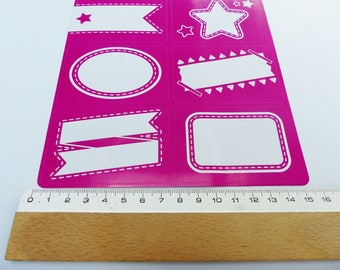 18 stickers type school label white and pink fuschia back to school