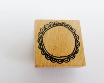 wooden square 3 cm round frame rubber stamp