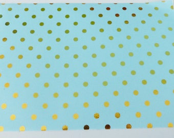 repositionable adhesive fabric coupon 15 x 21 cm sky blue with gold dots
