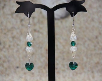 Heart and green swarovski crystal bead earrings