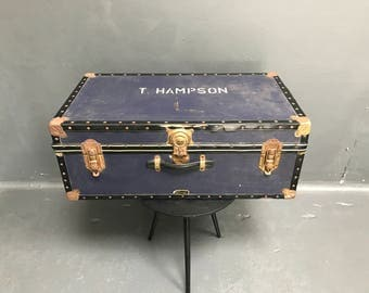 Vintage London Mossman Made Blue Travel Trunk