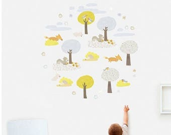 Wall decals nursery kids baby forest animals trees 2 boards blister walks