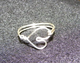 dainty wire heart ring, any size, made to order, silver