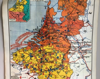 French school wall map Benelux