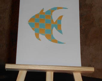 Woven paper fish card