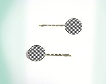 2 hair clips - vintage - cabochon - gingham