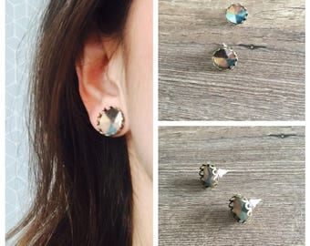 Indented triangle cabochon earrings