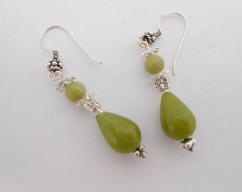 Green Jade, natural and Silver 925 earrings