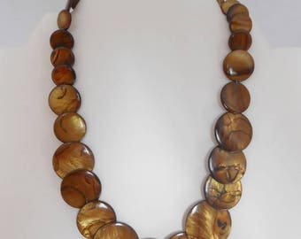 Necklace pearl beads iridescent Brown, layered 30, 25, 20, 15, 10 and 6 mm