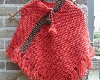 Orange and Brown hand-knitted poncho wool warm and comfortable!