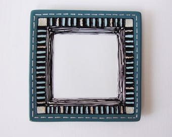 flat plate dessert or empty Pocket colour blue, black and white hand painted porcelain