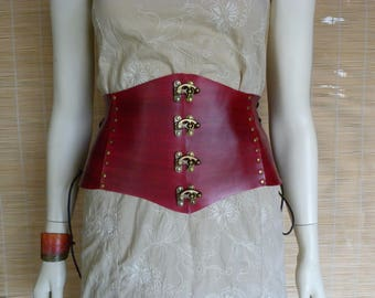 Red waist cincher belt