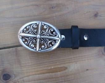 leather width 40 mm, fancy buckle belt