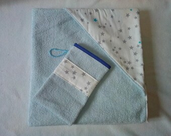 Set out of bath + gloves grey and blue stars