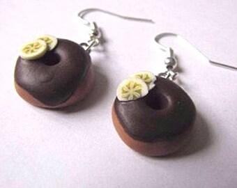 Earrings donuts chocolate and banana Fimo