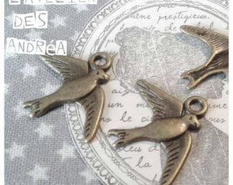 X 10 PENDANTS SWALLOWS brass BRONZE 22.5 X 17.5 mm