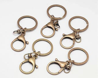 Set of 10 key clasp and ring in bronze color