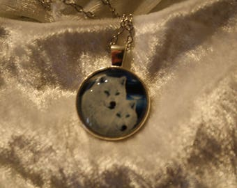 White Wolf cabochon necklace