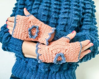 Crochet wristwarmers, fingerless gloves, fingerless mitts, salmon pink gloves