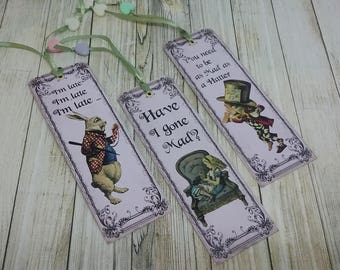 Set of 3 bookmarks theme Alice in Wonderland vintage country