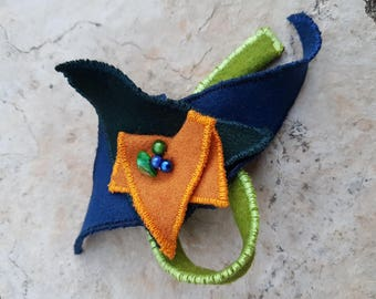 Blue and green felted wool brooch