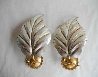 Couple vintage wall lamps in sheets shape probably 70s 80s
