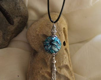 Blue Lagoon polymer clay necklace