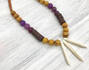 Stone Spike Necklace, Boho, Leather, Wood Bead